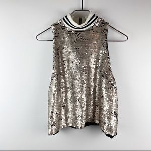 K/Lab sequin turtleneck party top L